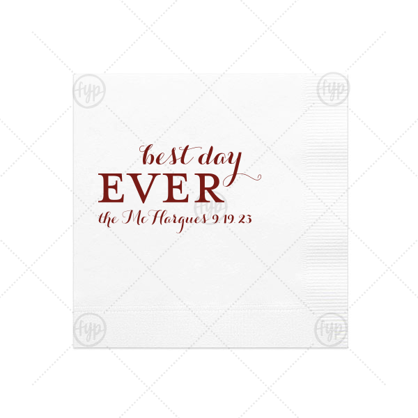 Have the best party accessories ever with this personalized napkin. The modern calligraphy script makes for a beautiful wedding font. Add your new family name and wedding date for a bar detail you'll love!