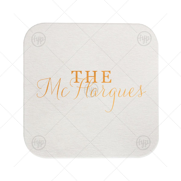 Last Name Coaster | Customize this wedding coaster and show off your new family name with every drink! The modern calligraphy script makes for a beautiful wedding font—you'll want to bring extras home to stock your wet bar.
