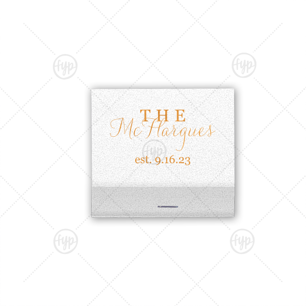 Last Name Match | Personalize this shimmery matchbook with the happy couple's last name and wedding date for both a fun complement to your sparkler send off and a memorable custom wedding favor.