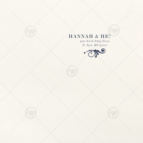 Decorative Flourish Letterpress Envelope | ForYourParty's personalized Lettra Pearl White 110lb Invitation Envelope with Navy Ink Letterpress Inks has a Decorative Flourish 2 graphic and is good for use for Wedding invitation envelopes and will make your guests swoon. Personalize your party's theme today.