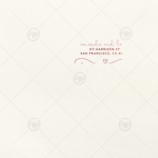 Our custom Lettra Pearl White 110lb Invitation Envelope with Shiny Merlot Foil has a Fancy Flourish 3 graphic and is good for use in accenting text and can be customized to complement every last detail of your party.