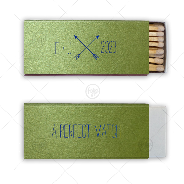 This matchbox features our modern Arrow Monogram with your initials and date. Personalize for a memorable wedding, engagement or anniversary favor that your guests will love using.