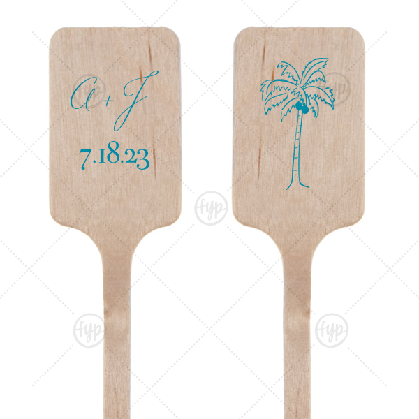 Palm Initial Stir Stick | Dress up wedding drinks with your beach theme! Featuring our Palm Tree graphic and Teal foil, customize these stir sticks with your initials and date for a playful tropical bar accent.