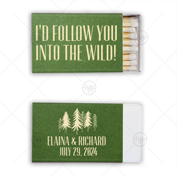 Forest Wedding Match | Customize these matches and feature the couple's names and wedding date alongside out Forest graphic for a memorable wedding, engagement or anniversary favor that your guests will love using.
