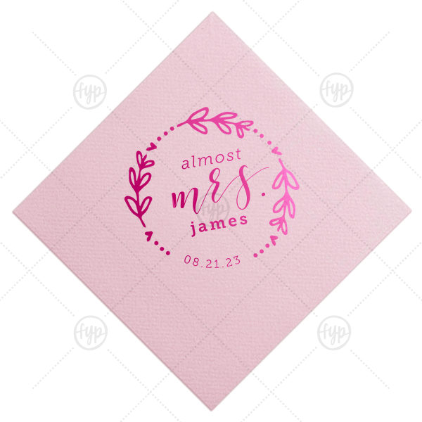 Custom Pastel Pink Cocktail Napkin with Shiny 18 Kt Gold Foil has a Date Wreath graphic and is good for use in Frames, Wedding themed parties and can't be beat. Showcase your style in every detail of your party's theme!
