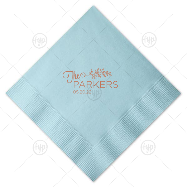 Vine Branch Wedding Napkin  | Personalized RECYCLED Sky Blue Cocktail Napkin with Satin Copper Penny Foil has a LeafFrameRSVP graphic and is good for use in Lovely Press, Frames themed parties and are a must-have for your next event—whatever the celebration!