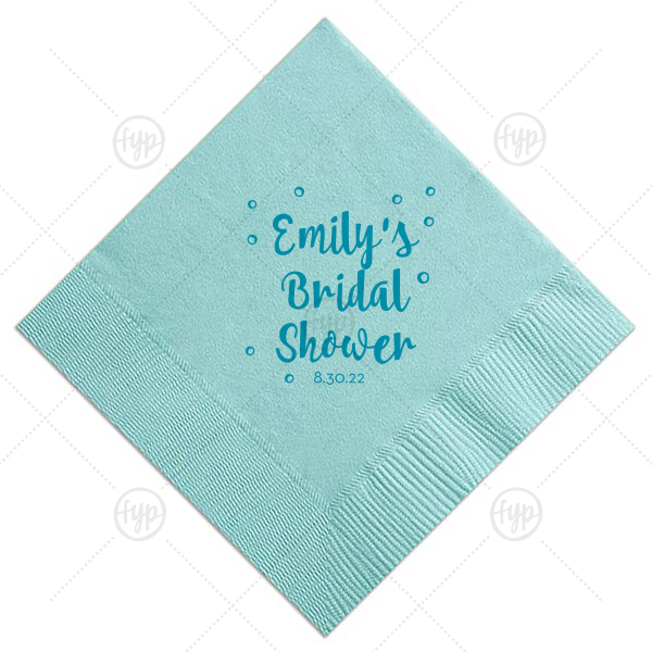 Personalize this adorable Tiffany Blue napkin to show off your hostess skills and make your bestie happy! The hand lettered script and bubbles will go perfectly on the mimosa bar of any bridal shower.