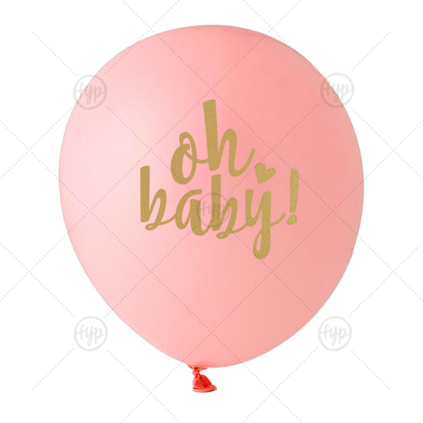 Oh Baby! Balloon | Our personalized Pink Designer Balloon with Satin Gold Ink Color has a Oh baby graphic and is good for use in Words, Baby Shower themed parties and can be personalized to match your party's exact theme and tempo.
