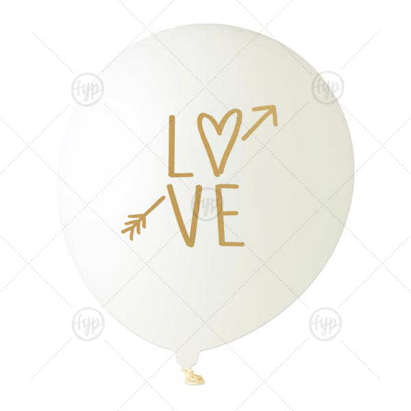 Love Balloon | Our custom White Designer Balloon with Satin Gold Ink Color has a Love graphic and is good for use in Words themed parties and are a must-have for your next event—whatever the celebration!