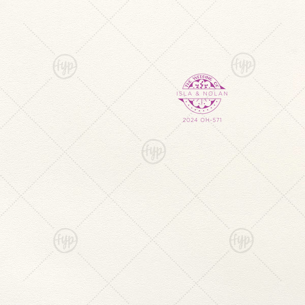 Wedding Badge Letterpress Envelope | ForYourParty's personalized Lettra Pearl White 110lb Invitation Envelope with Purple Ink Letterpress Inks has a Wedding Badge graphic and is good for use in Wedding, Floral themed parties and can be customized to complement every last detail of your party.