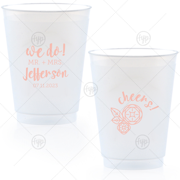 "We Do Flower Frost Flex Cup | Say ""We do"" to flawless personalized party accessories! Customize cups for a cheery bar and table addition that guests can also take home as personalized party favors. Add the happy couple's newly shared last name and their wedding date to our modern script text and Flower graphic."