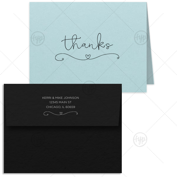 ForYourParty's chic Poptone Sky Blue Classic Note Card with Envelope with Shiny Rose Gold Foil has a Simple Heart Flourish graphic and is good for use in Love, Wedding themed parties and can't be beat. Showcase your style in every detail of your party's theme!