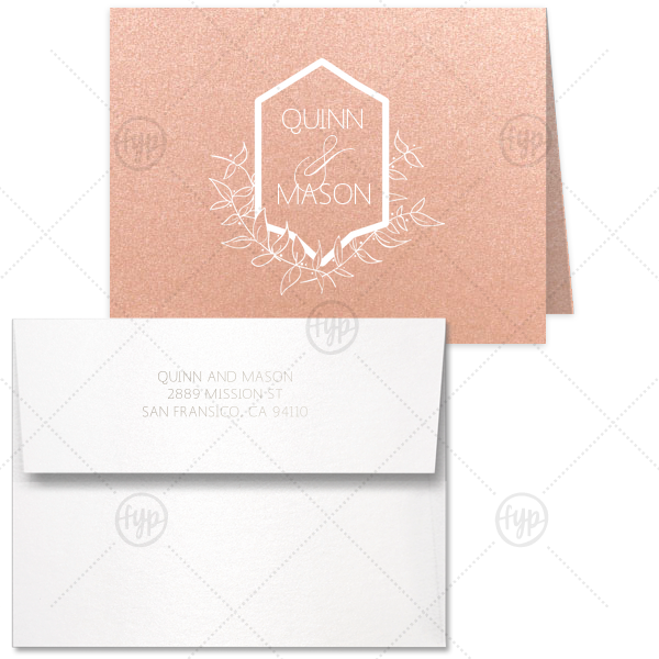 Leaf Crest Note Card | Custom Poptone Peach Classic Note Card with Envelope has Matte White Foil and Shiny Sterling Silver Foil with a Crest Leaf graphic and is good for use in Floral, Wedding themed parties and will impress guests like no other. Make this party unforgettable.