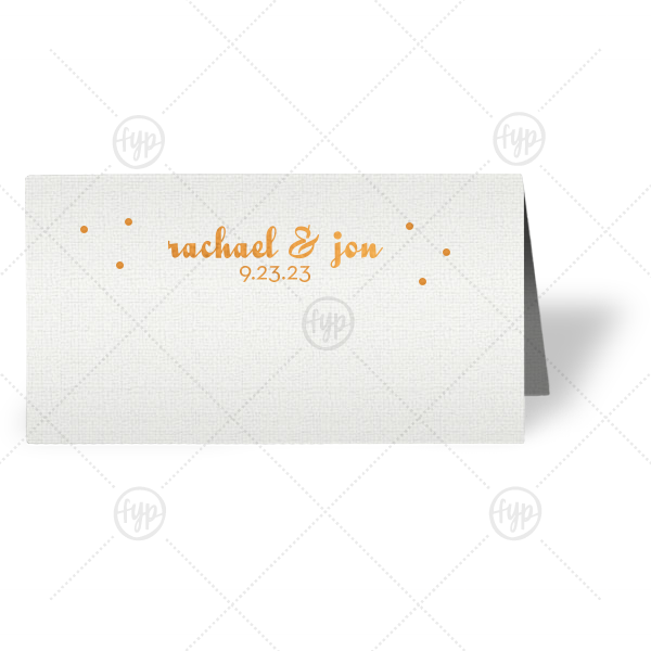 Dots Place Card | Complement your reception tablescape with themed place cards. Customize these Linen White cards with Copper foil and polka dots for a beautiful table addition. Add your names and wedding date for a personal touch.