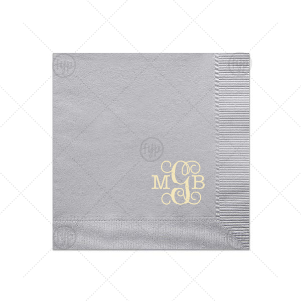 Vines Monogram Napkin | ForYourParty's elegant Dove Gray Luncheon Napkin with Shiny Sterling Silver Foil will make your guests swoon. Personalize your party's theme today.