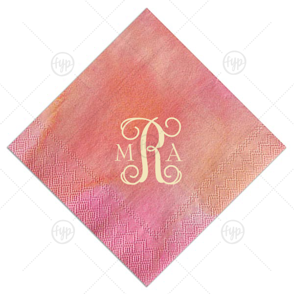 Vines Monogram Napkin | Our personalized Watercolor Hibiscus Cocktail Napkin with Matte Ivory Foil will look fabulous with your unique touch. Your guests will agree!