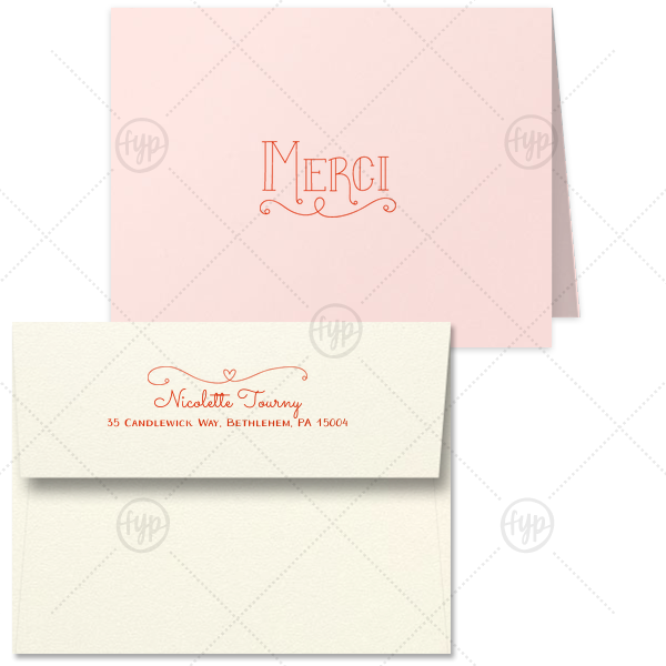 Merci Thank You Note | ForYourParty's elegant Poptone Peach Classic Note Card with Envelope with Satin Lipstick Red Foil has a Merci graphic and a Simple Heart Flourish graphic and is good for use as a thank you note Weddings, Showers, Birthdays and more. Add your unique touch and your guests swoon!