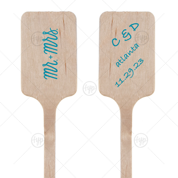 Mr. and Mrs. Stir Stick   Celebrate your wedding in the details! Add custom stir sticks to your signature drinks and reception bar. Personalized this Mr. + Mrs. word art with your names and theme color.