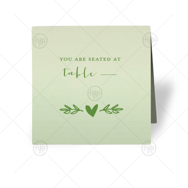 Heart Branch Place Card | Escort your guests to their seats in style with a greenery themed place card. Our Heart Branch graphic will fit right in with all of your wedding decor. Stick with this Mint paper and Matte Moss foil or choose your own colors to create the perfect complement to your wedding tablescape.