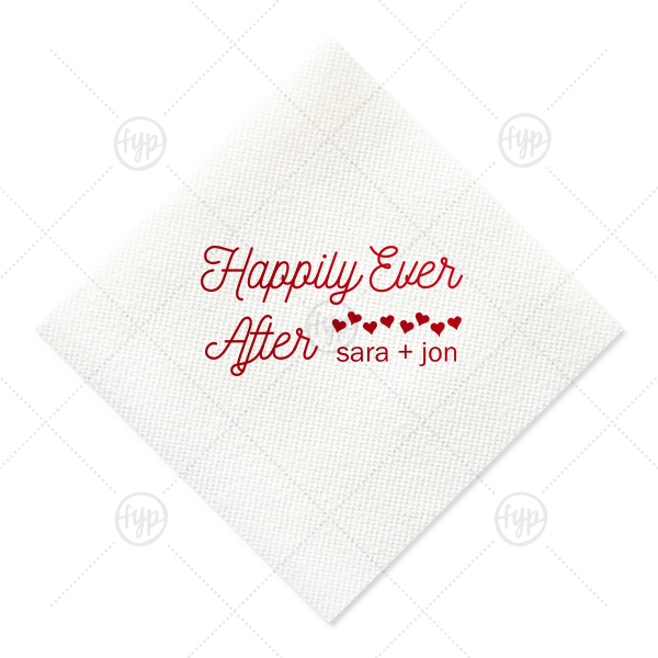 Custom White Linen Like Petite Napkin with Shiny Convertible Red Foil has a Hearts graphic and is good for use in Wedding themed parties and will look fabulous with your unique touch. Your guests will agree!