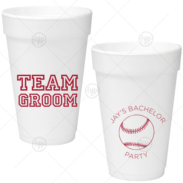 Team Groom Foam Cup | Ideal for a baseball themed bachelor party, personalize these cups for a home run bar accent! Our Baseball graphic and classic varsity sports block font will be the perfect complement to your groom's name.