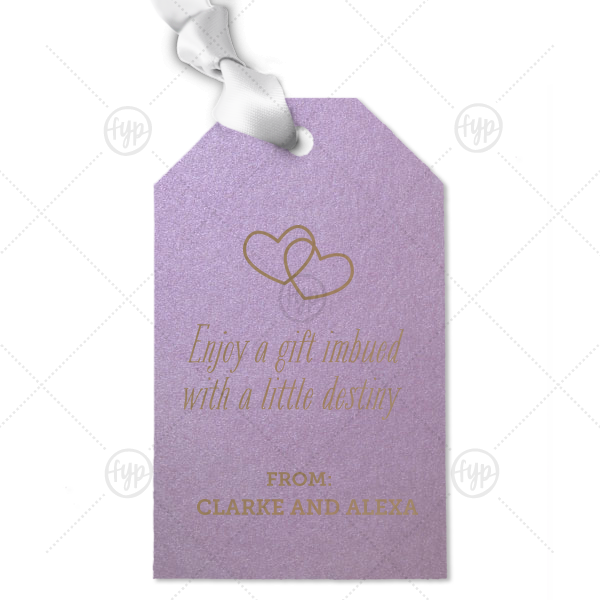 Create wedding details so perfect, they're destiny. Personalize this gift tag for a personalized thank you! Our Interlocking Hearts graphic will fit any theme. Simply choose your colors and add your names.