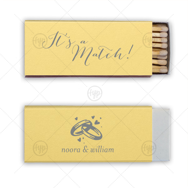 You've met your match! Personalize this pastel matchbox for a fun complement to your sparkler send off and a memorable custom wedding favor. Pair your names with our elegant calligraphy and Wedding Rings graphic for a detail guests will adore.