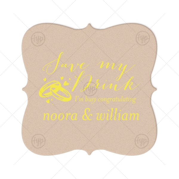 Customize your coasters for a special bar detail that will protect surfaces (and drinks!) and can also be used as a personalized party favor. Pair your names with our elegant calligraphy and Wedding Rings graphic for a detail guests will adore.