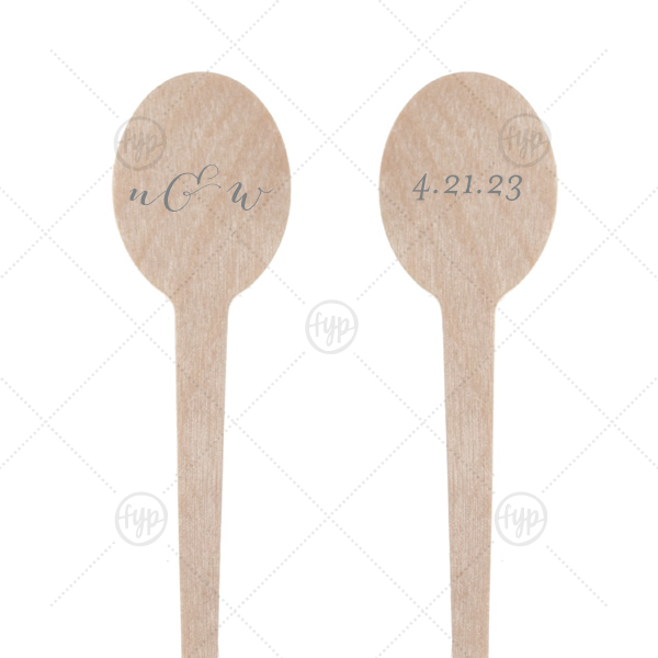 Customize stir sticks with your initials and wedding date for a personalized bar touch as unique as you! Our modern calligraphy gives these oval drink stirrers an elegant air guests will love.