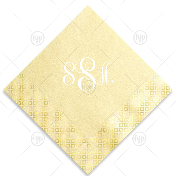 Monogram KK Napkin | ForYourParty's elegant Pearl Gold Luncheon Napkin with Matte White Foil will impress guests like no other. Make this party unforgettable.