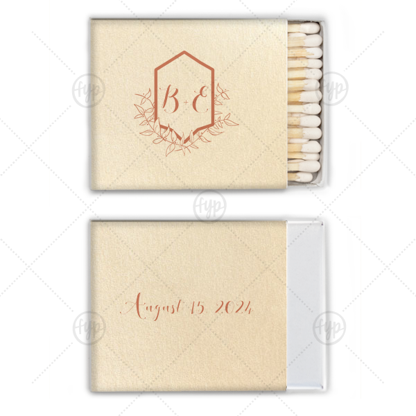 Crest Initials Match | Personalize matches and say thank you with a classic wedding favor. Add your initials and date to this leafy Crest frame for a gorgeous detail guests will love and can take home as personalized party favors.