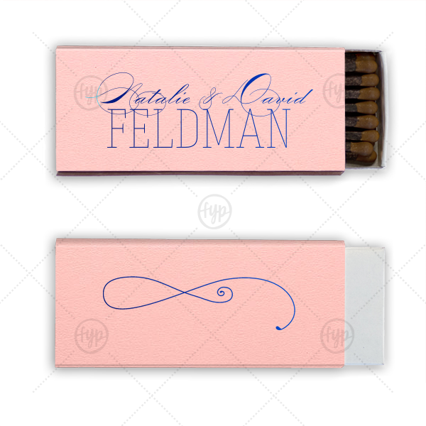 Romantic Cigar Match | Our custom Poptone Ballet Pink Cigar Matchbox with Shiny Royal Blue Foil has a Fancy Flourish graphic and is sure to make your guests swoon. Personalize your party's theme today.