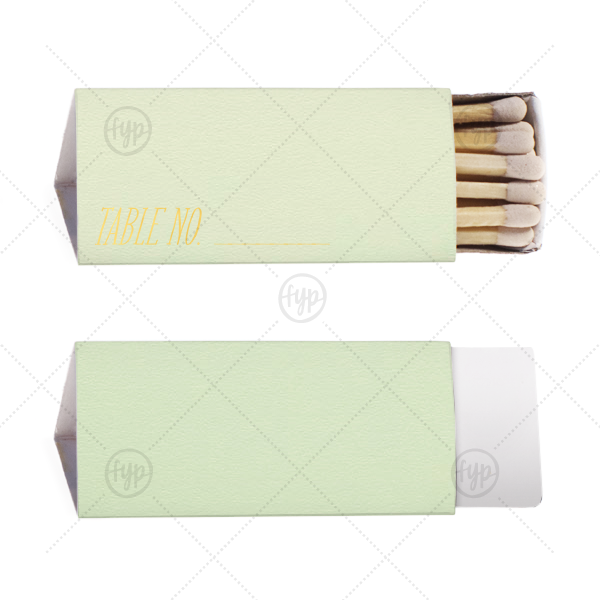 Write On Table Number Match | ForYourParty's personalized Poptone Mint Triangle Matchbox with Shiny 18 Kt Gold Foil can be personalized with your written calligraphy and table number and are a must-have for your next event—whatever the celebration!