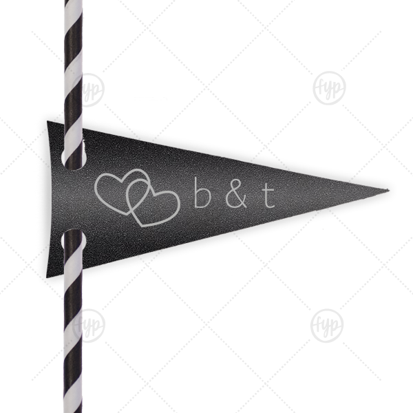 Personalized Stardream Black Pennant Straw Tag with Satin Sterling Silver Foil Color has a Interlocked Hearts graphic and is good for use in Hearts, Pairs themed parties and will impress guests like no other. Make this party unforgettable.