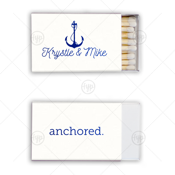 Anchored Match | Personalize matches for a wedding favor as unique as you and your soon-to-be! Our Anchor graphic, combined with this White paper and Shiny Royal Blue foil will make a gorgeous addition to your ocean of nautical themed wedding.