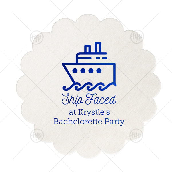 Ship Faced Coaster | Personalize coasters with a funny saying perfect for a boat themed bachelor or bachelorette party. This Shipped Face design with our Yacht graphic and Royal Blue foil will bring the festivities to the bar!