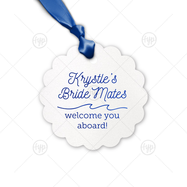 Welcome party guests aboard your bachelorette bash with a themed treat! Be it a snack, drink or preemptive hang over kit, tie your gift with a custom Bride Mates tag. Made of shimmery white paper with Royal Blue foil, this party detail is perfect for a boat, ocean or sailing theme.