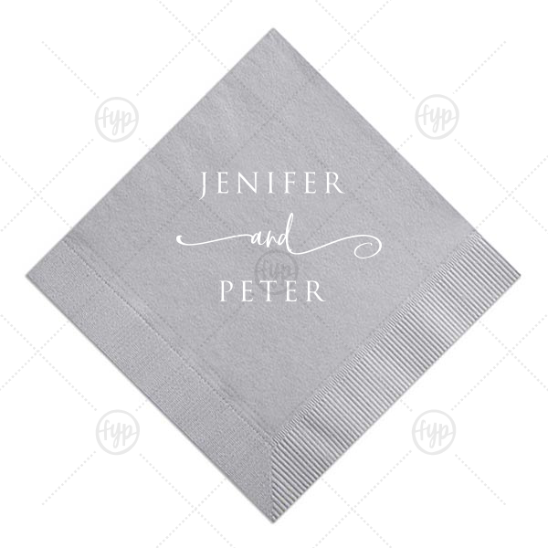 ForYourParty's elegant Dove Gray Cocktail Napkin with Matte White Foil can be customized to complement every last detail of your party.