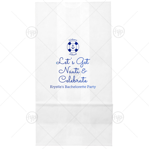 Nauti Bachelorette Bag | Welcome party guests aboard your bachelorette bash with a themed treat! Be it a snack, drink or preemptive hang over kit, toss your gift in a personalized bag for a memorable touch. Our Anchor and Life Preserver graphic and Let's Get Nauit saying are the perfect nautical touches for your ocean or sailing theme.