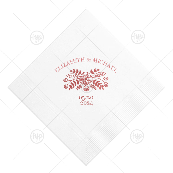 Our custom RECYCLED Ballet Pink Cocktail Napkin with Shiny Rose Quartz Foil has a Rustic Floral Accent graphic and is good for use in Accents, Wedding, Anniversary themed parties and will give your party the personalized touch every host desires.