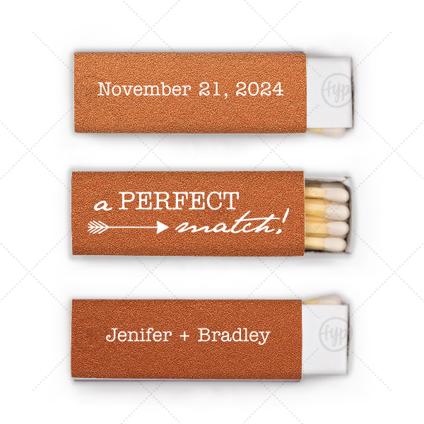 Love Arrow Wedding Match | Our beautiful custom Stardream Copper Lipstick Matchbox with Matte White Foil Color has a Right Arrow graphic and is good for use in Frames themed parties and will give your party the personalized touch every host desires.