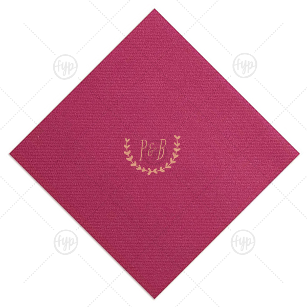 Organic Border Initials Napkin | Custom Magenta Linen Like Cocktail Napkin with Shiny Rose Gold Foil has a Branch 1 graphic and is good for use in Frames themed parties and couldn't be more perfect. It's time to show off your impeccable taste.