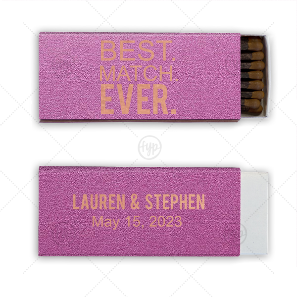 You've met your match! Customize these shimmery Plum matchboxes with your names and wedding date for a stellar personalized party favor guests will adore. Place on the bar, around tables or have ready for your sparkler send off.