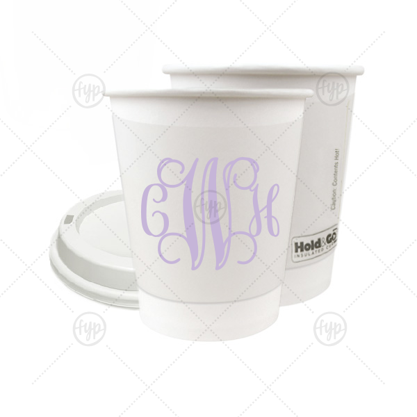Vine Monogram Paper Cup | The ever-popular 8 oz Paper Coffee Cup with Lid with Matte Lavender Ink will add that special attention to detail that cannot be overlooked.
