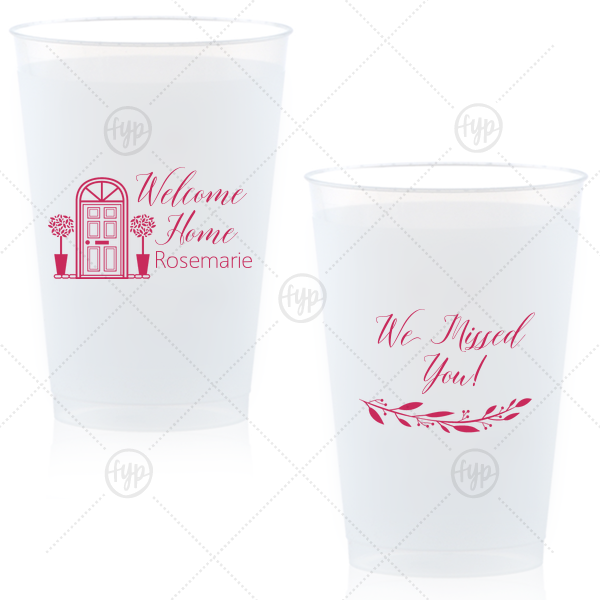 Welcome Home Frost Flex Cup | The ever-popular Matte Fuchsia Ink 12 oz Frost Flex Cup with Matte Fuchsia Ink Screen Print has a Door graphic and a Branch 4 graphic and is good for use in Floral themed parties and will add that special attention to detail that cannot be overlooked.