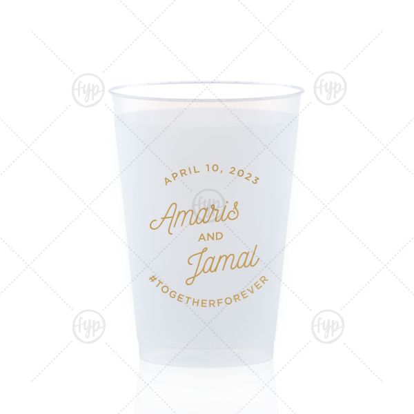 Our custom Gold Ink 12 oz Frosted Plastic Cup with Gold Ink Cup Ink Colors can be customized to complement every last detail of your party.