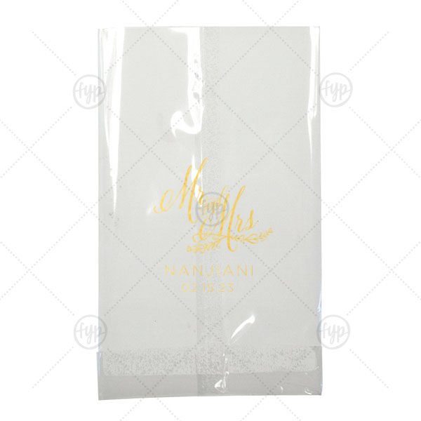 Mr And Mrs Wedding Bag | Custom Shiny 18 Kt Gold Small Cellophane Bag with Shiny 18 Kt Gold Foil has a Mr And Mrs 3 graphic and is good for use in Wedding, Words, Anniversary themed parties and will impress guests like no other. Make this party unforgettable.