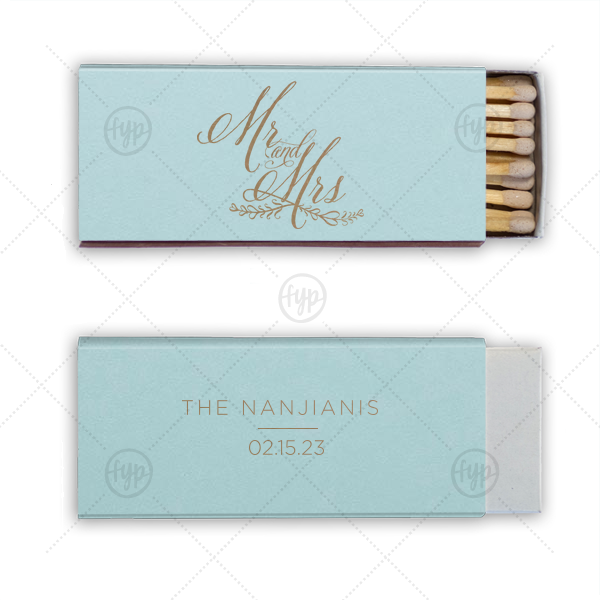 Mr And Mrs Wedding Match  | Custom Poptone Sky Blue Candle Matchbox with Shiny 18 Kt Gold Foil has a Mr And Mrs 3 graphic and is good for use in Wedding, Words, Anniversary themed parties and can be personalized to match your party's exact theme and tempo.