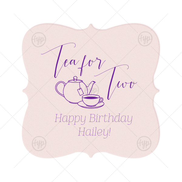 Tea for Two Coaster | Make her birthday special with custom coasters! Use at the party and send home with guests as a personalized party favor. Add the birthday girl's name and age for a personal touch. Our hand lettered calligraphy font and Tea Pot clipart will complement your tea party birthday beautifully.