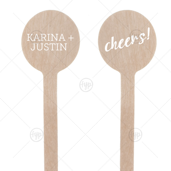 "Cheers Stir Stick | Have all your guests saying ""Cheers!"" with these personalized stir sticks. Just the right touch for your wedding bar, give signature drinks the accent they deserve. Keep neutral with our matte white or add a pop of color that matches your theme."